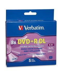 Verbatim DVD+R DL 8.5GB 8X AZO with Branded Surface - 5pk Jewel Case Box - 95311 95311
