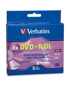 Verbatim DVD+R DL 8.5GB 8X AZO with Branded Surface - 5pk Jewel Case Box - 95311 95311