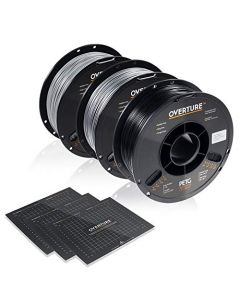 OVERTURE PETG Filament 1.75mm with 3D Build Surface 200 x 200 mm 3D Printer Consumables 1kg Spool (2.2lbs) Dimensional Accuracy +/- 0.05 mm Fit Most FDM Printer (Black + Light Gray +Space Gray) OVPETG175-3-Black-Light-Grey-Space-Grey