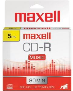 Maxell 625132 1-Time Recording Recordable CD (Audio Only) 700mb/80 Min Slim Jewel 625132