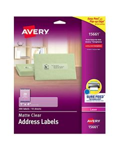 "Avery Matte Frosted Clear Address Labels for Laser Printers 1"" x 4"" 200 Labels (15661) 15661"