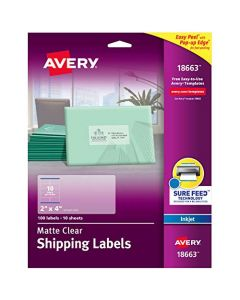 "Avery Matte Clear Address Labels with a Frosted Finish for Inkjet Printers 2"" x 4"" 100 Labels (18663) 18663"