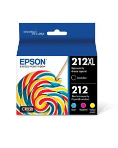 Epson 212XL Standard-capacity Color and High-capacity Black Ink Cartridges (CMYK) 4-Pack T212XL-BCS