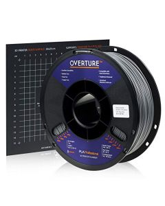 Overture PLA Plus (PLA+) Filament 1.75mm PLA Professional Toughness Enhanced PLA Roll with 3D Build Surface 200 × 200mm Premium PLA 1kg Spool (2.2lbs) Dimensional Accuracy +/- 0.05 mm (Space Grey) OVB175-Space-Grey