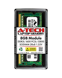 A-Tech 8GB DDR3 / DDR3L 1600MHz SODIMM PC3L-12800 2Rx8 Dual Rank 1.35V CL11 204-Pin Non-ECC Unbuffered Notebook Laptop RAM Memory Upgrade Module CT102464BF160B