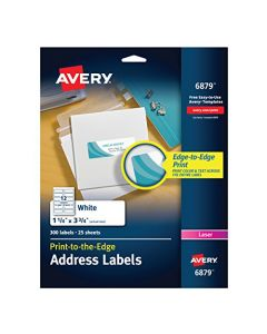 Avery Laser Labels Matte Mailing 3-3/4 x 1-1/4 300 per Pack (6879) White 6879