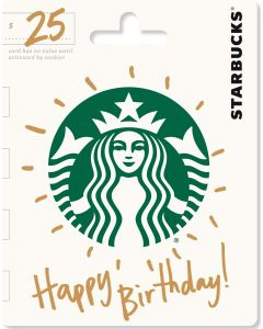 Starbucks $25 Gift Card Happy Birthday