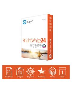 HP Printer Paper BrightWhite 24lb, 8.5x 11, 1 Ream, 500 Sheets, Made in USA From Forest Stewardship Council (FSC) Certified Resources, 100 Bright, Acid Free, Engineered for HP Compatibility, 203000R