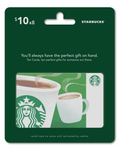 Starbucks 8 x $10 Gift Cards Multipack of 8