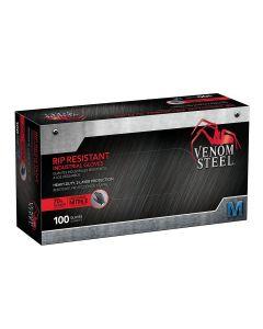 Venom Steel Nitrile Gloves Rip Resistant Disposable Latex Free Black Gloves 2 Layer Gloves, 6 mil Thick Medium (Pack of 100) VEN6142