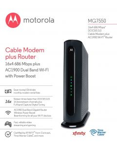 Refurbished: Motorola MG7550 DOCSIS 3.0 Cable Modem plus AC1900 Wi-Fi Router 686 Mbps Comcast Xfinity Time Warner Cable