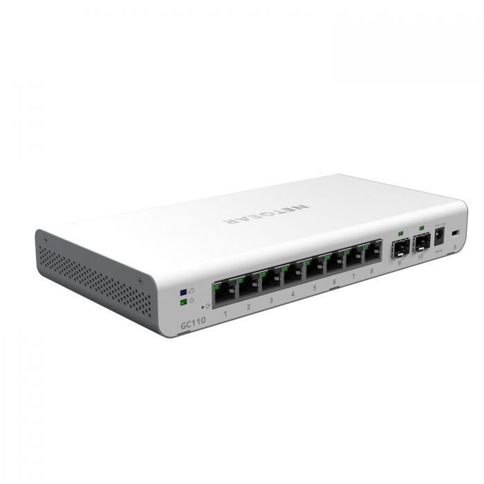 NETGEAR GC110 8-Port Gigabit Ethernet Insight Managed Smart Cloud Switch  w/2 SFP Fiber Ports (GC110-100NAS)
