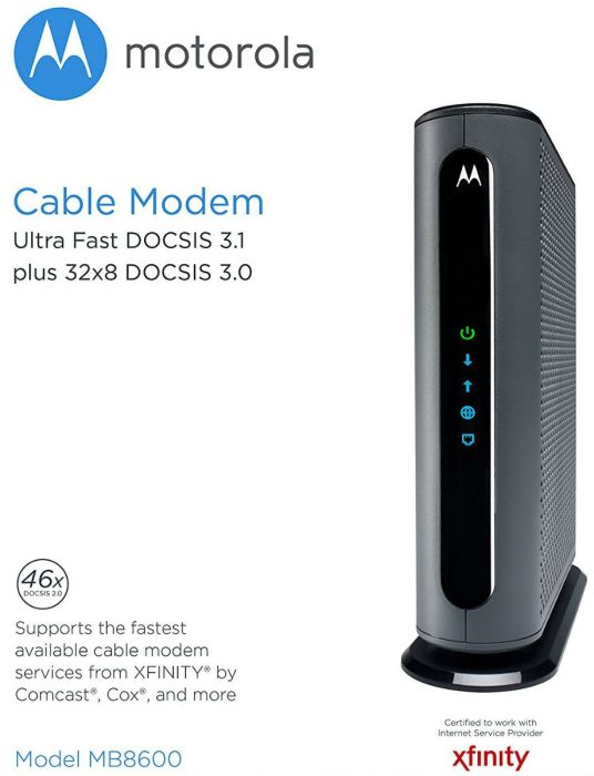 Refurbished: Motorola MB8600 DOCSIS 3 1 Ultra Fast Cable Modem 1 Gbps  Comcast Xfinity Time Warner Cable