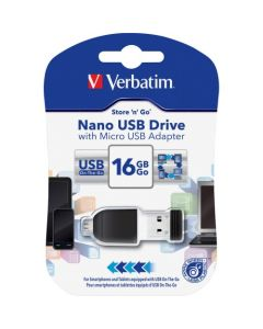 Verbatim 16GB Nano USB Flash Drive with USB OTG Micro Adapter Black 16GB 1 Pack NANO W/ MICRO USB 2.0 ADAPTER BLACK