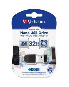 Verbatim 32GB Nano USB Flash Drive with USB OTG Micro Adapter Black 32GB 1 Pack NANO W/ MICRO USB 2.0 ADAPTER BLACK